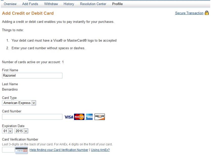 How to Verify Paypal Account using Globe GCASH AMEX