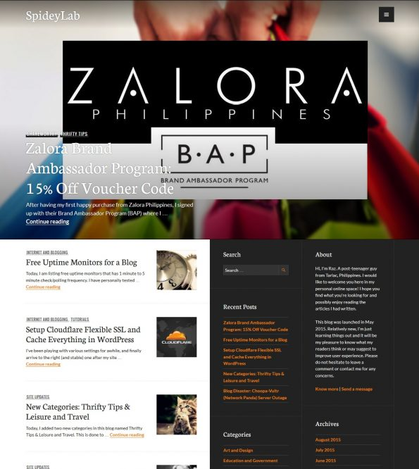 Snapshot of blog homepage running a Publication theme by Automattic.